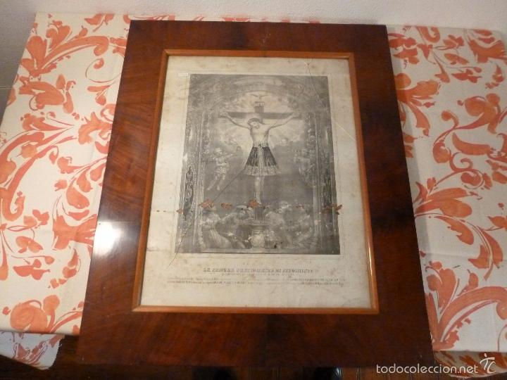 MARCO DE CAOBA CON LAMINA RELIGIOSA (Antigüedades - Hogar y Decoración - Marcos Antiguos)