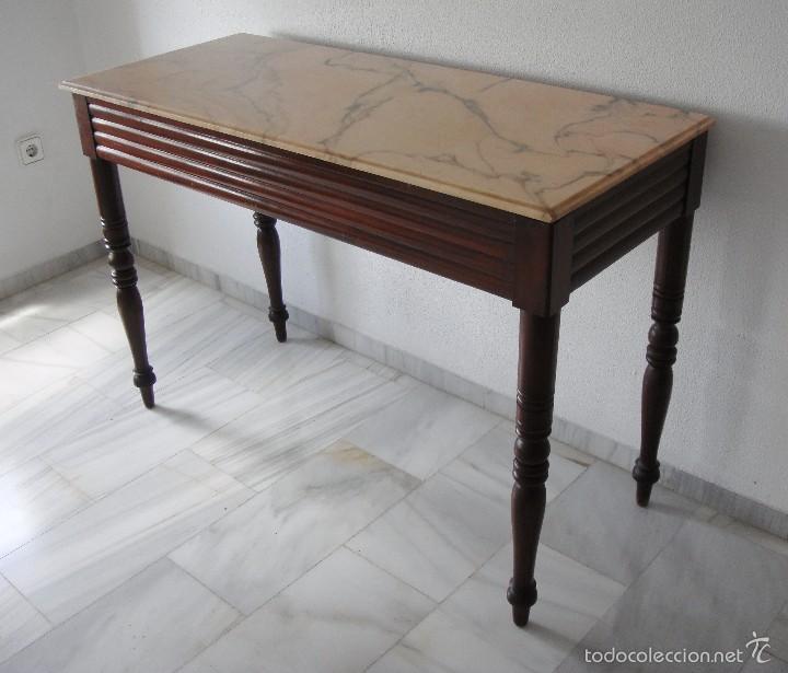 Antigüedades: Mesa Auxiliar o Velador. Caoba. Tapa de mármol Portugués. - Foto 2 - 57302395