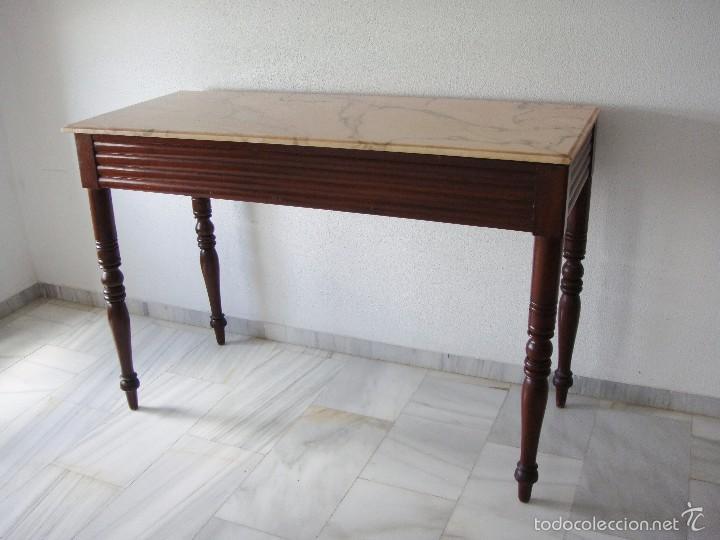 Antigüedades: Mesa Auxiliar o Velador. Caoba. Tapa de mármol Portugués. - Foto 3 - 57302395