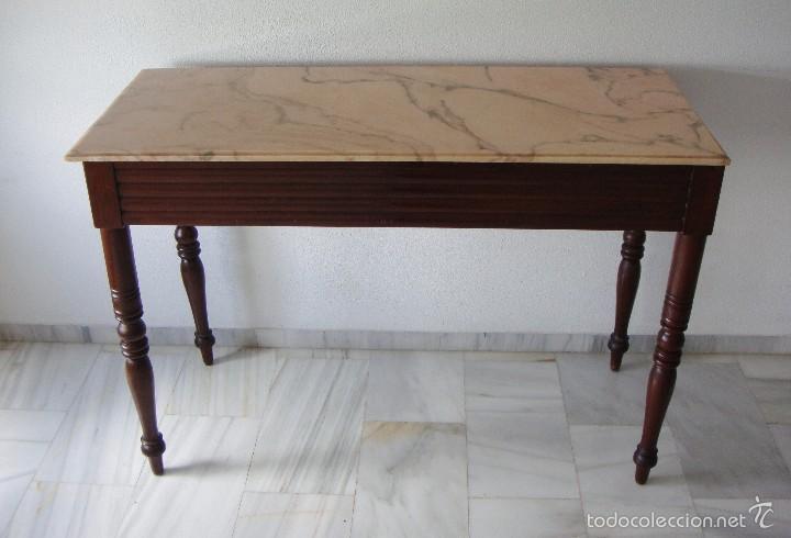 Antigüedades: Mesa Auxiliar o Velador. Caoba. Tapa de mármol Portugués. - Foto 4 - 57302395