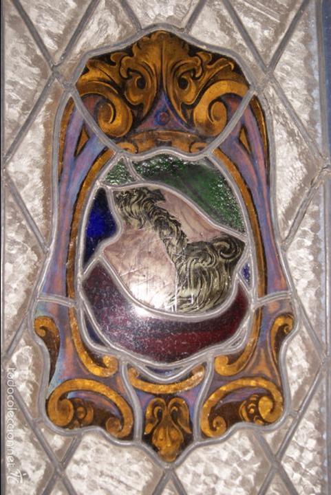 Antigüedades: VIDRIERA EMPLOMADA MEDIADOS DEL SIGLO XIX .VIENE MONTADA EN VENTANA DE DOS HOJAS - Foto 3 - 57303074