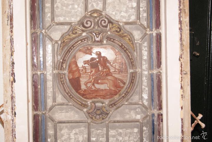 Antigüedades: VIDRIERA EMPLOMADA MEDIADOS DEL SIGLO XIX .VIENE MONTADA EN PUERTA - Foto 2 - 57303090
