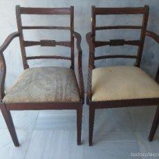 Antigüedades: ANTIGUA PAREJA DE SILLONES S.XIX EN MADERA DE CAOBA. Lote 57304833