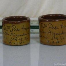 Antigüedades: PAREJA DE CUENCOS DE CERÁMICA *** RESTAURANTE PASA TAPAS (BARCELONA) ***. Lote 57311176