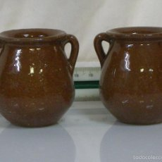 Antigüedades: BONITO CONJUNTO DE 2 VASIJAS MINI DE CERAMICA. Lote 57318004