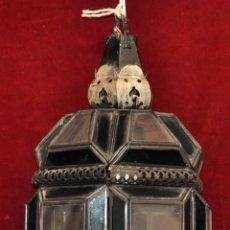 Antigüedades: FAROL GRANADINO O ANDALUZ TIPO MORUNO EN CRISTAL Y METAL. AÑOS 40. Lote 57320328