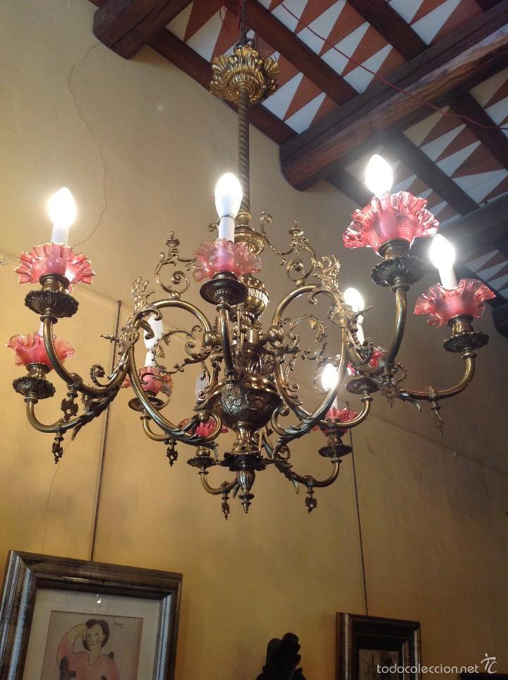 Antigüedades: Lámpara Modernista De Gas Realizada En Bronce ConTulipas En Cristal Original De Época - Foto 2 - 57330902
