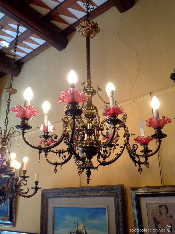 Antigüedades: Lámpara Modernista De Gas Realizada En Bronce ConTulipas En Cristal Original De Época - Foto 3 - 57330902
