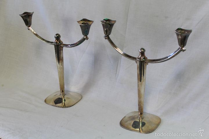 Antigüedades: pareja de candelabros en alpaca - Foto 5 - 57337414