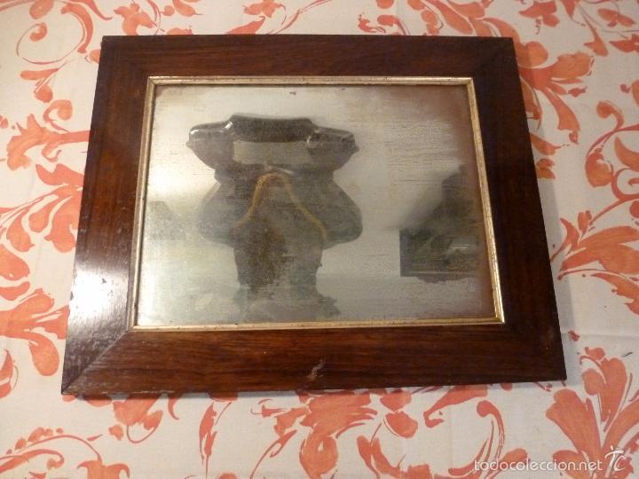 MARCO DE MADERA CON ESPEJO ANTIGUO (Antigüedades - Muebles Antiguos - Espejos Antiguos)