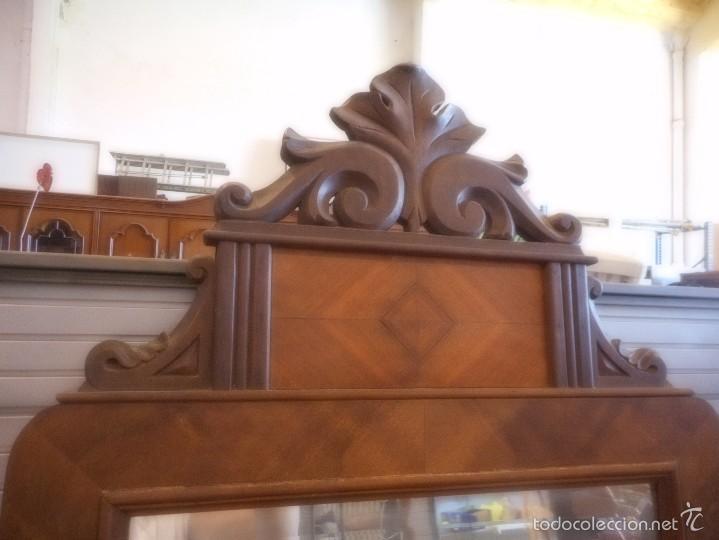 Antigüedades: precioso espejo de madera tallado - Foto 2 - 57339524