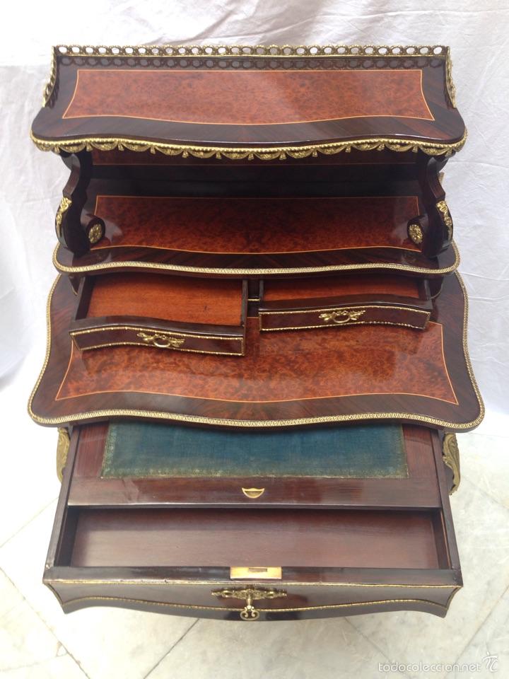 Antigüedades: Escritorio Luis XV de madera palosanto y raíz de ciprés - Foto 4 - 57346133