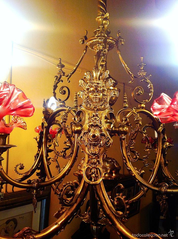 Antigüedades: Lámpara Modernista De Gas Realizada En Bronce ConTulipas En Cristal Original De Época - Foto 4 - 57330902