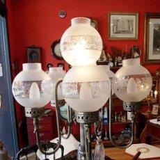 Antigüedades: ANTIGUA LAMPARA DE PIE DE 6 LUCES CON TULIPAS DE CRISTAL ACABADO PLATEADO. Lote 57370598