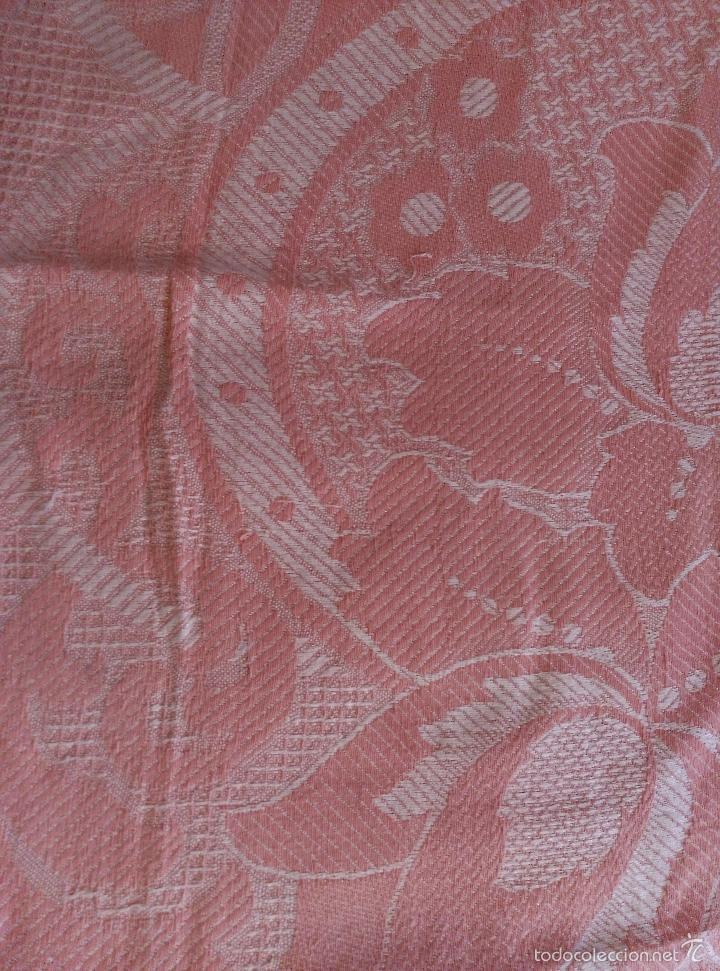 Antigüedades: Colcha antigua de algodón rosa - Foto 2 - 57383427