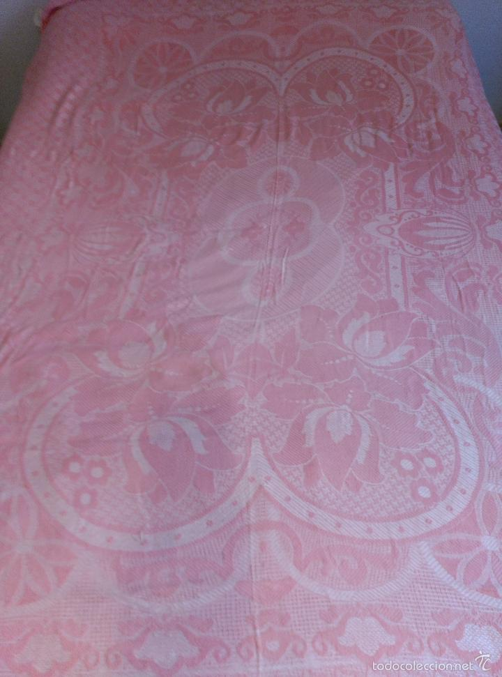 Antigüedades: Colcha antigua de algodón rosa - Foto 6 - 57383427