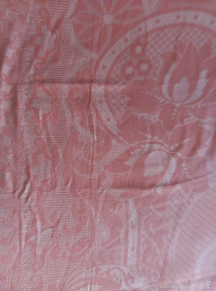 Antigüedades: Colcha antigua de algodón rosa - Foto 7 - 57383427