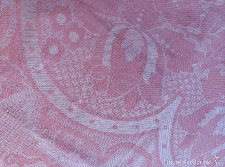 Antigüedades: Colcha antigua de algodón rosa - Foto 8 - 57383427