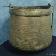 Antigüedades: CALDERA COBRE BOCA ESTRECHA MEDIA HERRADA. Lote 57383478