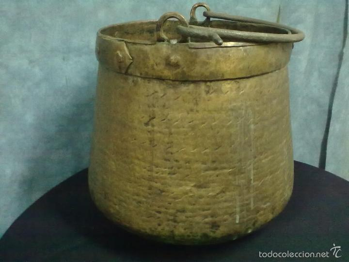 Antigüedades: CALDERA COBRE BOCA ESTRECHA MEDIA HERRADA - Foto 2 - 57383478