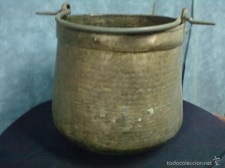 Antigüedades: CALDERA COBRE BOCA ESTRECHA MEDIA HERRADA - Foto 3 - 57383478