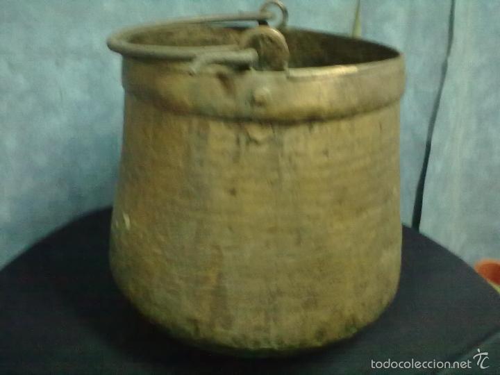 Antigüedades: CALDERA COBRE BOCA ESTRECHA MEDIA HERRADA - Foto 4 - 57383478