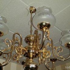 Antigüedades: LAMPARA EN BRONCE Y METAL ORO. Lote 57391738