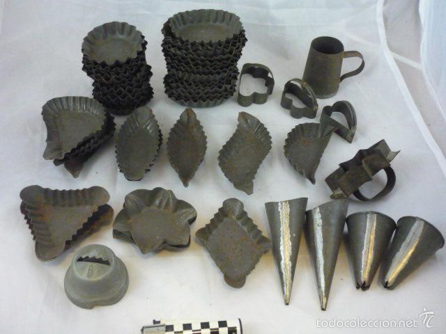 LOTE 52 PIEZAS HOJALATA ARTESANALES PARA REPOSTERIA (VER LISTADO) (Antigüedades - Técnicas - Rústicas - Utensilios del Hogar)