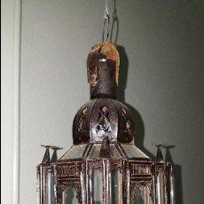 Antiquitäten - ANTIGUO FAROL MORUNO DE COBRE Y CRISTAL - 57409947