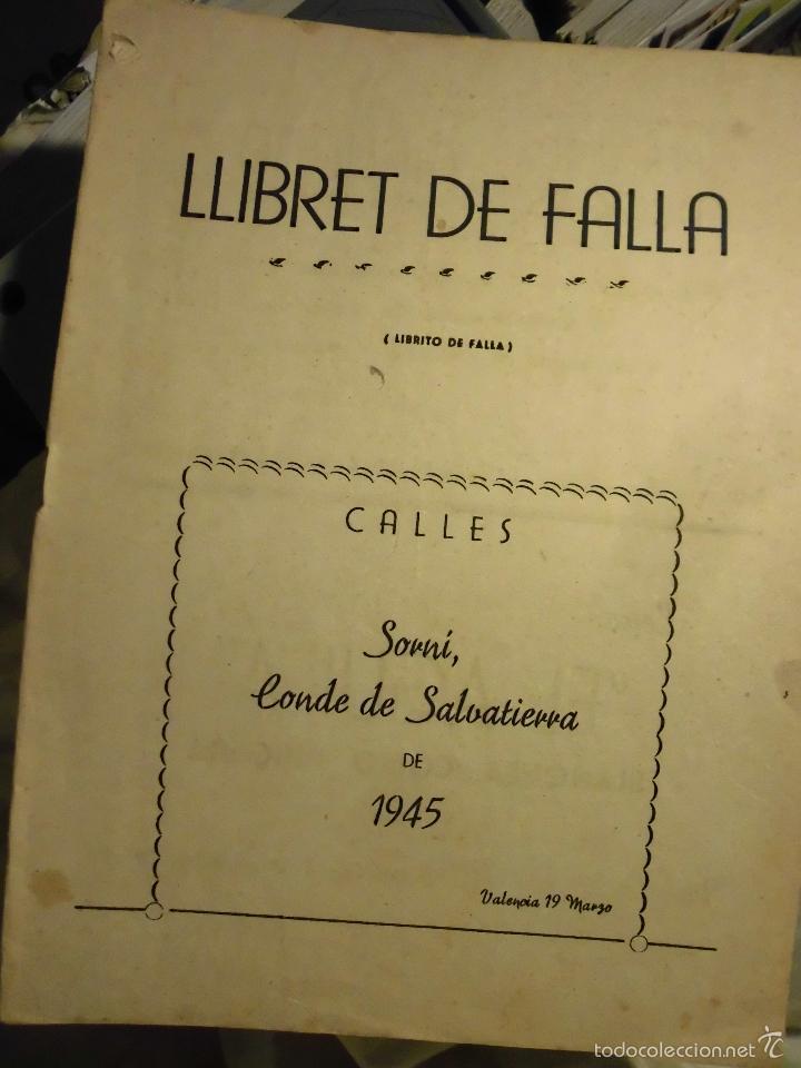 LLIBRET DE FALLA SORNI CONDE DE SALVATIERRA DE 1945 (Antigüedades - Varios)