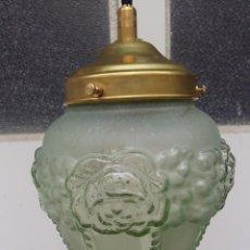 Antigüedades: 2 LAMPARAS MODERNISTAS DE TECHO, TULIPA VERDE.. Lote 57414220