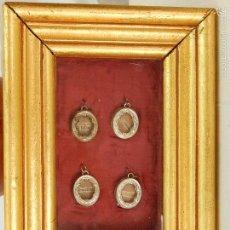 Antigüedades: CONJUNTO DE CUATRO RELICARIOS PLATEADOS. CON MARCO.. Lote 57420913