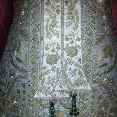 Antigüedades: ESPECTACULAR PAREJA DE BORLAS PARA FAJIN VERDE ORO IDEAL VIRGEN DE LA ESPERANZA , MACARENA, VERACRUZ. Lote 57429118