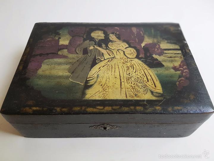 caja de madera antigua espejo interior escena galante antigedades hogar y decoracin