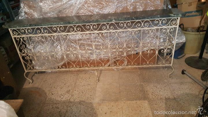 MESA FORJA MARMOL (Antigüedades - Muebles Antiguos - Mesas Antiguas)