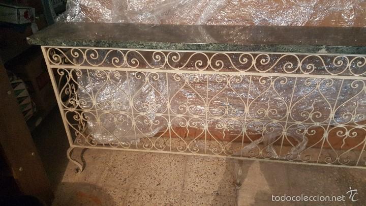 Antigüedades: MESA FORJA MARMOL - Foto 2 - 171254167