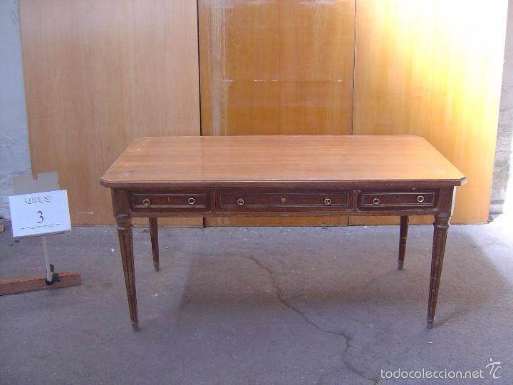 MESA DE DESPACHO COLOR MIEL (Antigüedades - Muebles Antiguos - Mesas de Despacho Antiguos)