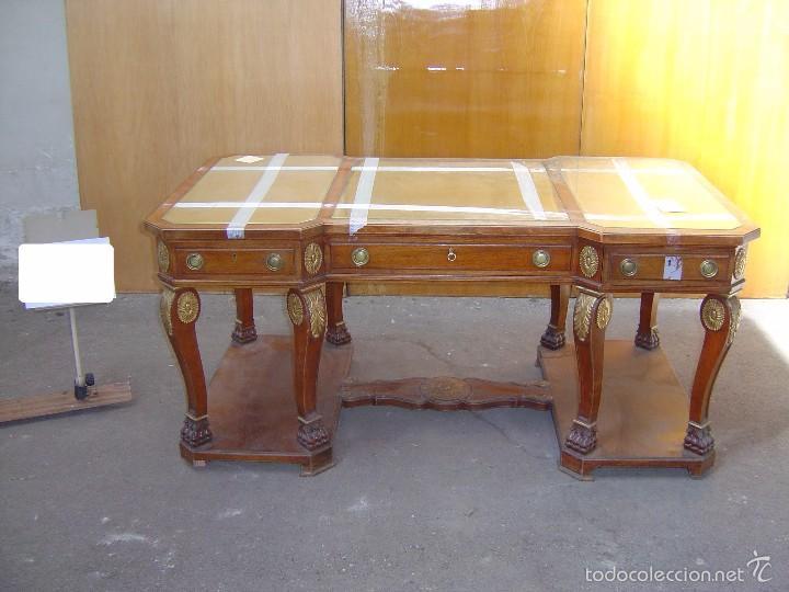 Mesa estilo despacho con tapa en cristal y piel comprar mesas de despacho antiguas en - Mesas de despacho de cristal ...