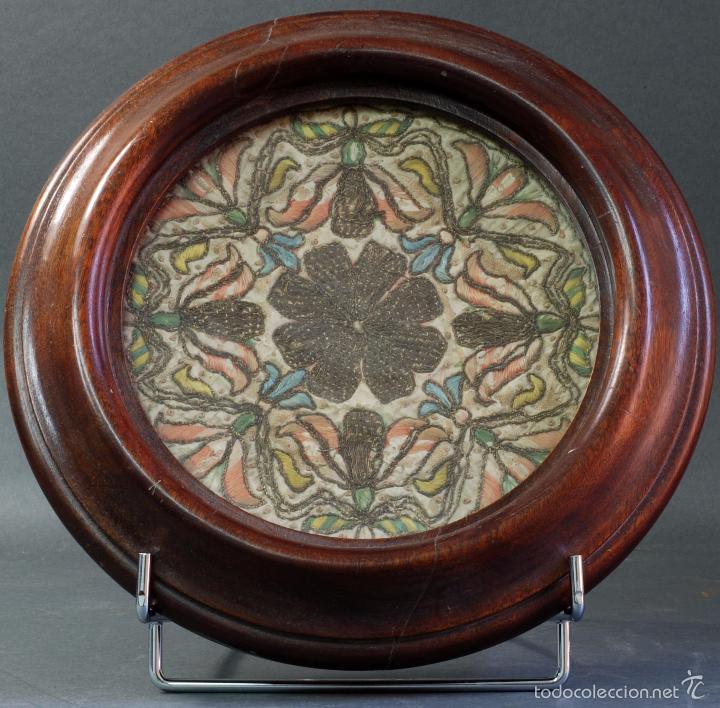 PIEZA TELA BORDADA HILO PLATA S XVI ENMARCADO POSTERIOR (Antigüedades - Religiosas - Ornamentos Antiguos)