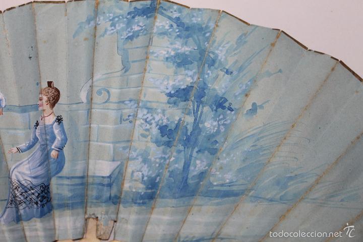 Antigüedades: ABANICO FRANCÉS EN HUESO CALADO Y PAPEL PINTADO A MANO - CIRCA 1850 - Foto 2 - 57470502