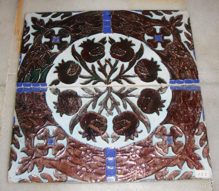 ANTIGUA PAREJA DE AZULEJOS DE REFLEJOS. TRIANA. (Antigüedades - Porcelanas y Cerámicas - Triana)