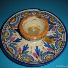 Antigüedades: PLATO PORTAVELAS DE SANGUINO DIAMETRO 15CM. Lote 57487025