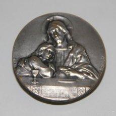 Antigüedades: MR118 PLACA CON ESCENA RELIGIOSA. FIRMADA E. DROPSY. PLATA. FRANCIA. AÑOS 30. Lote 57488429
