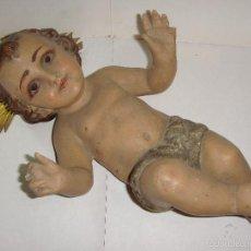 Antigüedades: ANTIGUO NIÑO JESÚS. DE OLOT. POLICROMADA. CON OJOS DE CRISTAL.. Lote 57493390