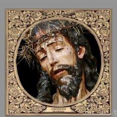Antigüedades: AZULEJO 20X20 DEL CRISTO DE LA CORONACIÓN DE ESPINAS DE SEVILLA CON GRECA. Lote 57526884