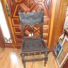 Antigüedades: ANTIGUA SILLA DE MADERA TALLADA, ASIENTO Y RESPALDO EN CUERO CON CLAVOS - BUEN ESTADO. Lote 57530931