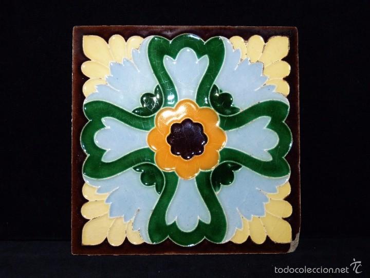 Antigüedades: LOTE DE 3 AZULEJOS MODERNISTAS CUERDA SECA 15x15/7,5x7,5 cm. MANISES VALENCIA AÑOS 20 - Foto 5 - 57535176