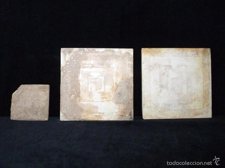 Antigüedades: LOTE DE 3 AZULEJOS MODERNISTAS CUERDA SECA 15x15/7,5x7,5 cm. MANISES VALENCIA AÑOS 20 - Foto 7 - 57535176