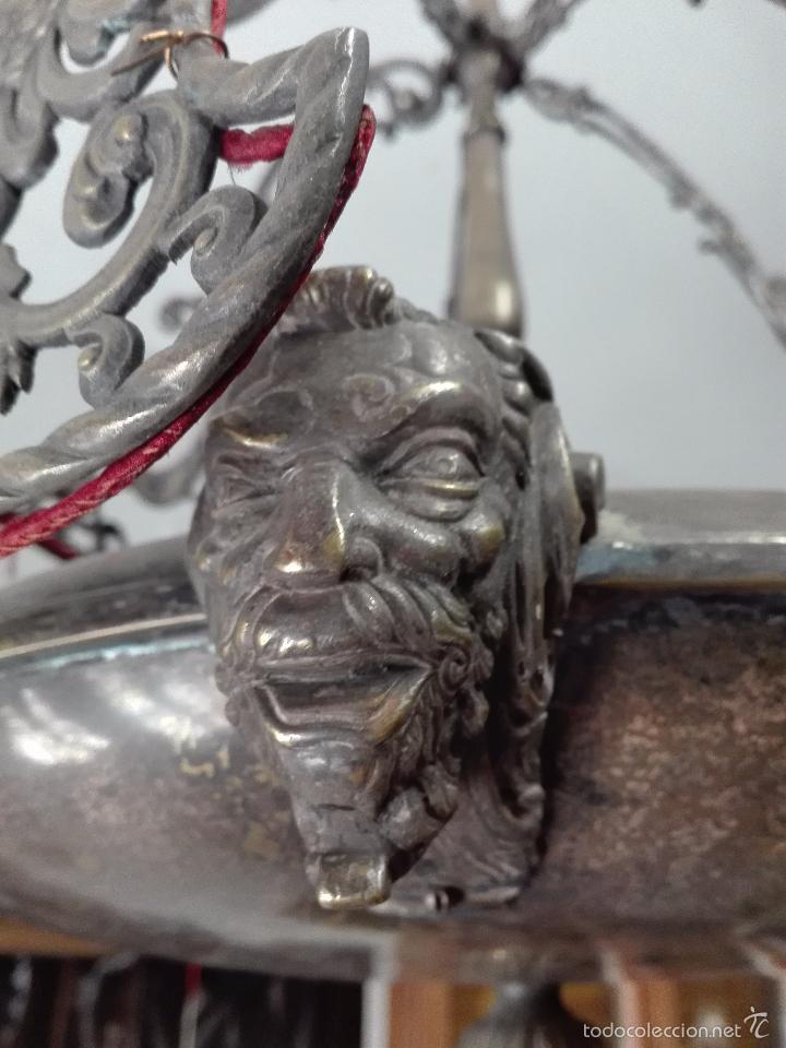 Antigüedades: IMPONENTE LÁMPARA DE DESPACHO EN BRONCE MACIZA - PANTALLAS AGUILA BICÉFALA Y CORONA - CABEZAS - - Foto 2 - 57544409