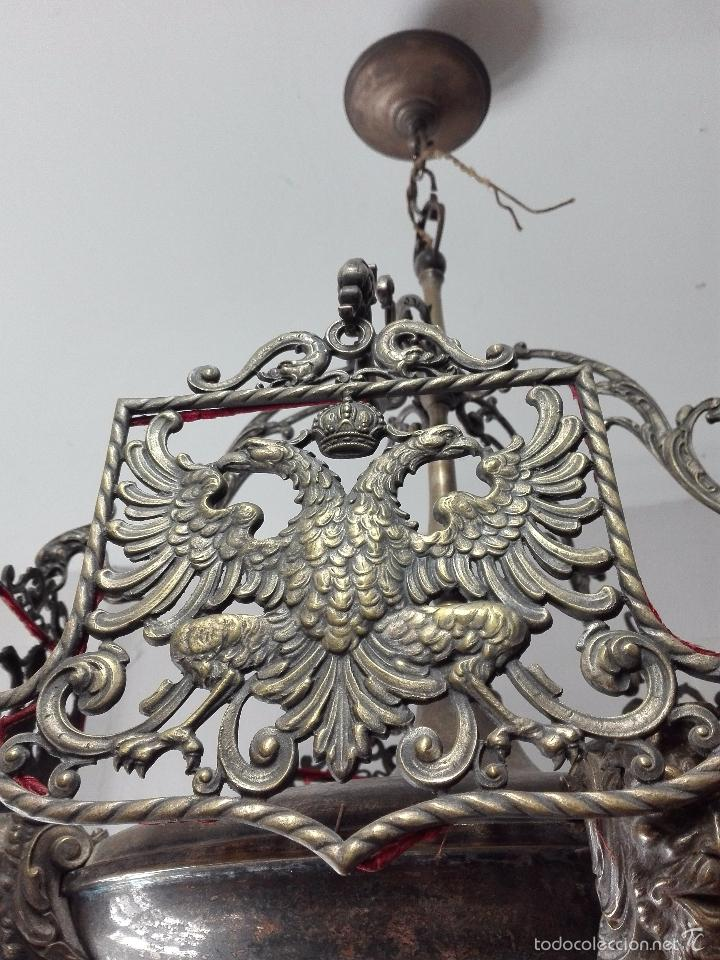 Antigüedades: IMPONENTE LÁMPARA DE DESPACHO EN BRONCE MACIZA - PANTALLAS AGUILA BICÉFALA Y CORONA - CABEZAS - - Foto 3 - 57544409